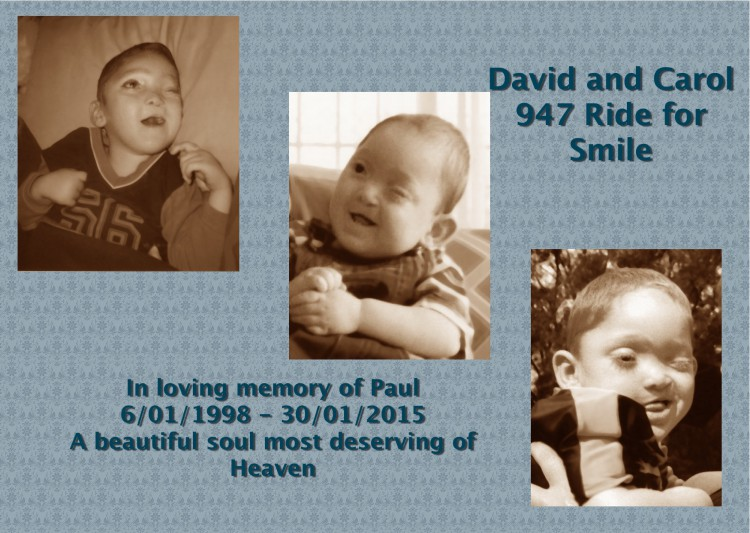 Support David and Carol's 947 ride for 'Smile'