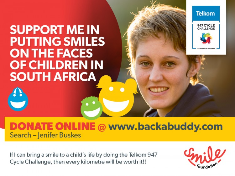 Jenifer Buskes riding for the Smile Foundation 94.7 Cycle Challenge